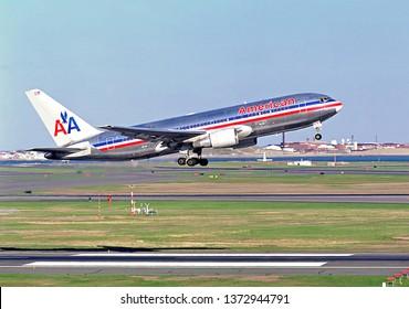 Historic 9-11-01 hijacked American Airlines Boeing 767 N334AA World trade towers attack plane, Logan Airport Boston Massachusetts USA, June 1, 2000
