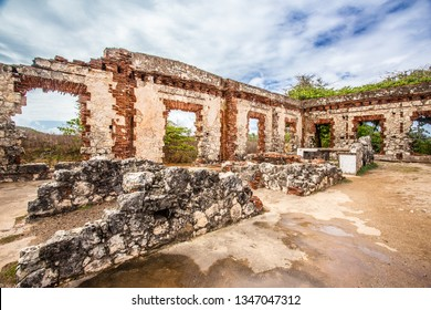 Historic abandoned lighthouse ruins at Aguadilla, Puerto Rico,