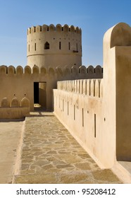 Historic adobe fortification, watchtower of Sunaysilah Castle or Fort in Sur, Al Sharqiya Region. Sultanate of Oman, Middle East