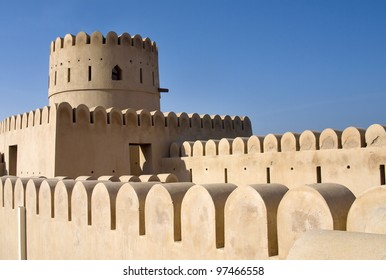 Historic adobe fortification, watchtower of Sunaysilah Castle or Fort in Sur. Sultanate of Oman, Middle East