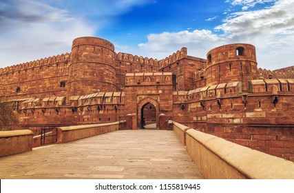 Historic Agra Fort built by Mughal Emperor Akbar at Agra India. A UNESCO World Heritage site.