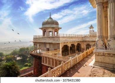 Historic Agra Fort with view of Musamman Burj dome. Agra Fort is a UNESCO world heritage site at Agra India