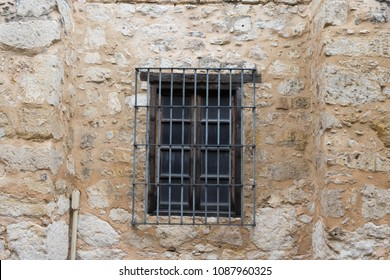 Historic Alamo building window in San Antonio Texas.