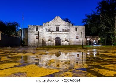 the Historic Alamo at twilight, San Antonio, Texas.