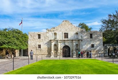 The historic Alamo where the famous battle happened and tourists waiting to enter San Antonio Texas USA 10 18 2012