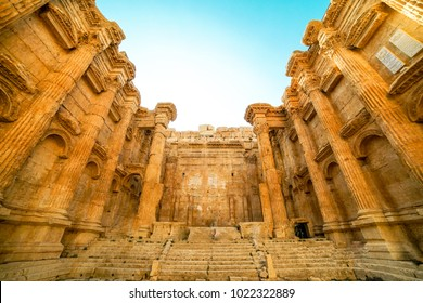 Historic ancient Roman Bacchus temple in Baalbek, Lebanon