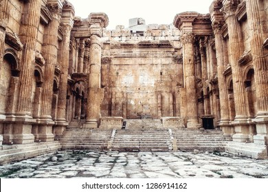 Historic ancient Roman Bacchus temple in Baalbek, Lebanon