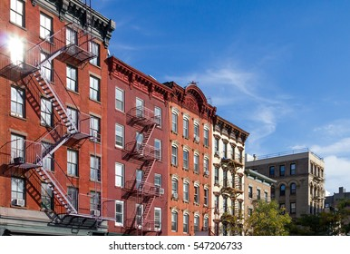 Historic Apartment Buildings along Bleecker Street in the Greenwich Village neighborhood of Manhattan, New York City