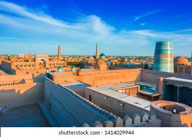 Historic architecture of Itchan Kala, walled inner town of the city of Khiva, Uzbekistan. UNESCO World Heritage Site.