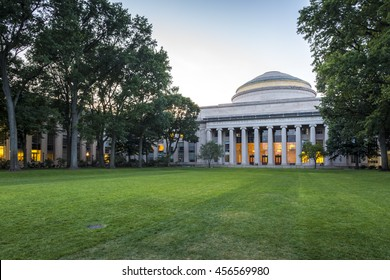 The historic architecture of the Massachusetts Institute of Technology in Cambridge, Massachusetts, USA at sunset.