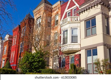 Historic architecture of Mount Vernon Square in Washington DC, USA. Residential brick row houses in US Capital.