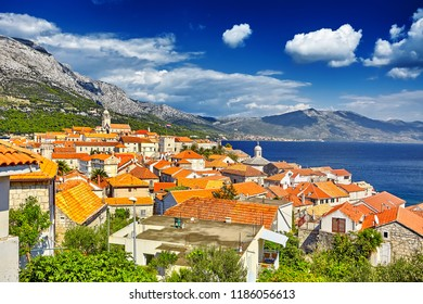 The historic architecture old town Korcula in Croatia, popular touristic destination in Mediterranean, Croatia Europe