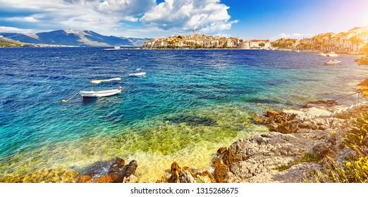 The historic architecture old town Korcula and majestic landscape in Croatia, popular touristic destination in Mediterranean, Croatia Europe