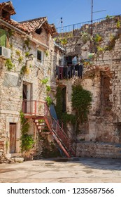 Historic architecture in the old town of Split, Croatia.