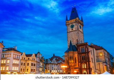 Historic architecture of Old Town Square in Prague with Old Town Hall, Czech Republic