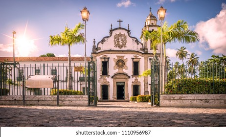 The historic architecture of Olinda in the state of Pernambuco, Brazil with its cobblestone streets and colonial buildings dated from the 17th century at sunrise.