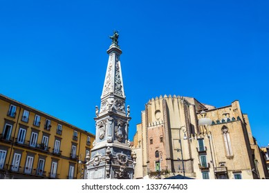 Historic architecture in Saint Dominic Plaza in beautiful Naples, Italy