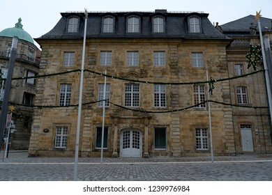 Historic architecture.Bayreuth city Germany.Pedestrian area.