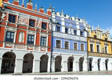 Historic Armenian houses in Zamosc old town Market Square (Poland).