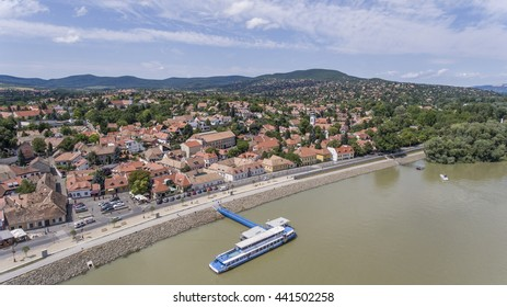 The historic artists' village of Szentendre in the Danube bend - aerial photo taken from a drone.