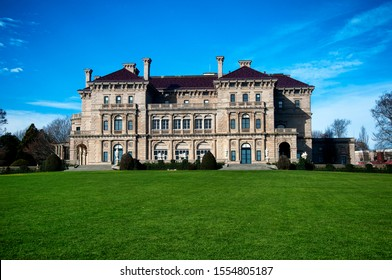 The historic back exterior of the breakers in newport rhode island in late autumn.