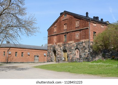 Historic ballast room built from stone and red brick on Suomenlinna island, Finland