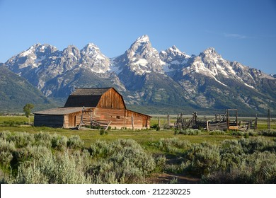 a historic barn named mormon row at Grand Tetons