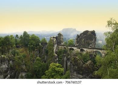 The historic Bastei bridge in Germany