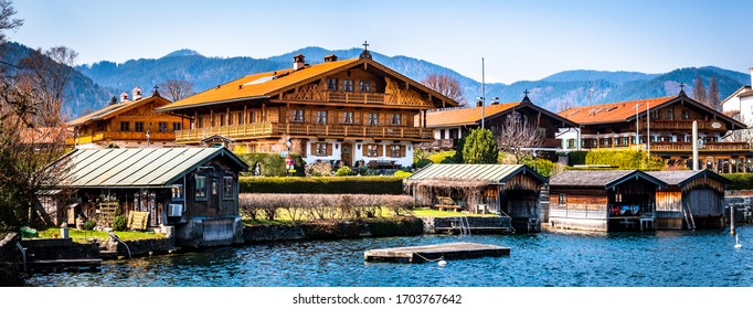 historic bavarian houses in the old town of Rottach-Egern, Tegernsee