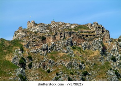 Historic Beaufort Crusader Castle (Qala'at al-Shaqif) in southern Lebanon, near Arnoun in Nabatieh province. Set on a high rock for defensive purposes, it has been attacked many times over the ages.