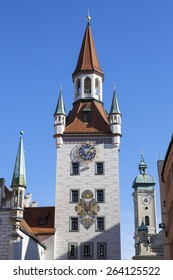 Historic bell tower in Munich, Germany
