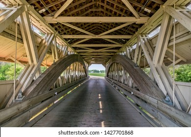 Historic Bigelow Covered Bridge, viewed from inside, was built in 1873 and crosses Little Darby Creek in rural Union County, Ohio.