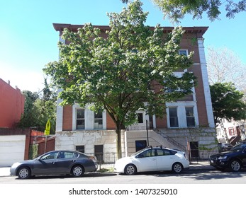 Historic Block in Historic Crown heights this Virginia Pl, east side and Park Pl Corner Shirley Chisholm the first black woman to serve in the US Congress lived on this block Brooklyn NY May 23 2019