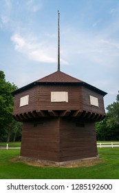 Historic blockhouse in Erie, PA by the lake.