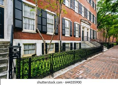Historic brick buildings along Spruce Street in Washington Square West, Philadelphia, Pennsylvania.