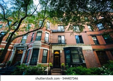 Historic brick buildings in Back Bay, Boston, Massachusetts.
