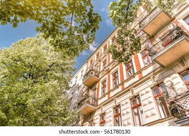 historic brick facade of living house in Berlin