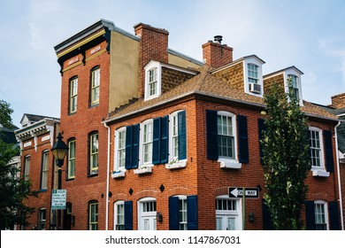 Historic brick row houses in Fells Point, Baltimore, Maryland