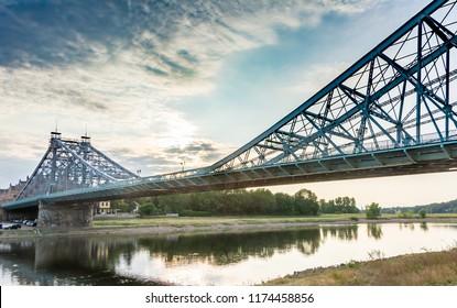 Historic bridge called Blue Wonder accross the river Elbe in Dresden (Germany)