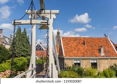 Historic bridge Kwakelbrug in the center of Edam, Holland