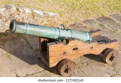 Historic bronze cannon decorating the fortress of Valenca do Minho, Portugal