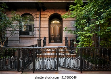 A historic brownstone building in an iconic neighborhood of Greenwich Village in Manhattan, New York City.