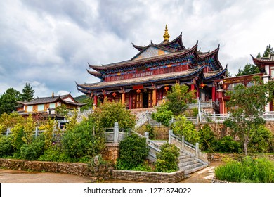Historic Buddhist Temple Complex on Hilltop in Village of Baisha, Yunnan, China. Example of Classic Chinese Temple Architecture.