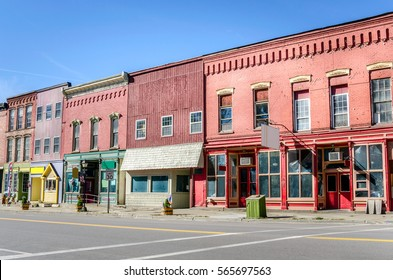 Historic Building along Main Street with Colourful Storefronts in Prattsburgh, NY