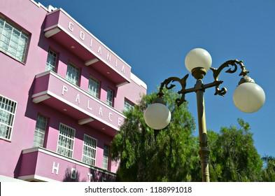 Historic building in art deco style in the central region of Goiania, Goias, Brazil