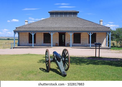 Historic Building with Cannon at Fort Laramie National Historic Site
