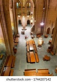 Historic building Cathedral of learning Pittsburgh university first floor inside view, PA USA July 2019.