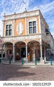 Historic building in downtown of Aire sur la Lys, France, 09-02-2020
