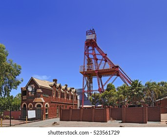 Historic building and industrial mining machinery tower in Kalgoorlie boulder regional tower of Western Australia. Mining boom town of gold rush times.
