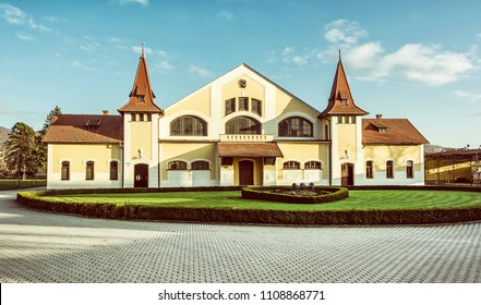 Historic building of national stud farm, Topolcianky, Slovak republic. Architectural theme. Travel destination. Old photo filter.
